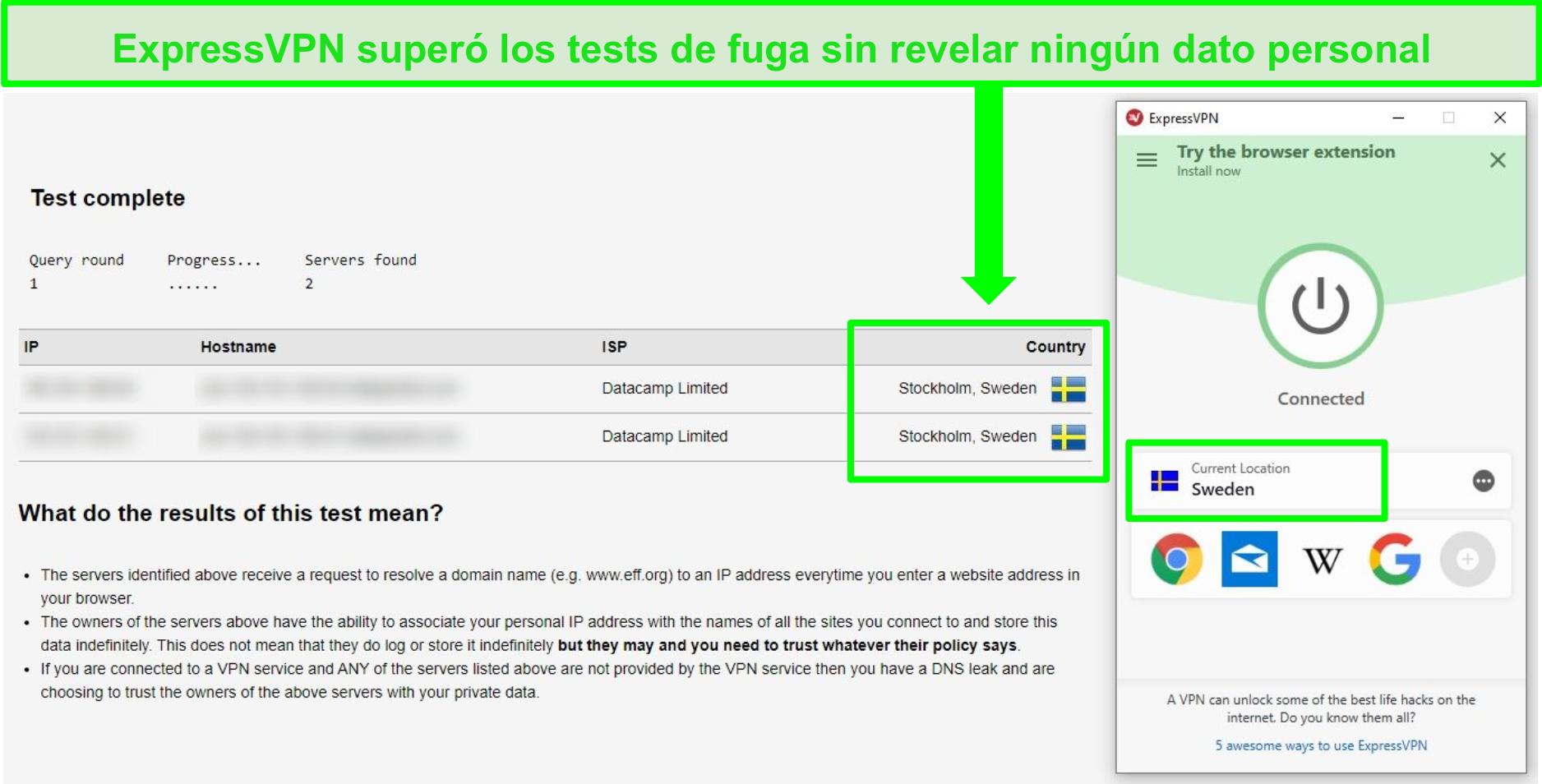 Captura de pantalla de ExpressVPN pasando una prueba de fugas de DNS mientras está conectado a servidores suecos