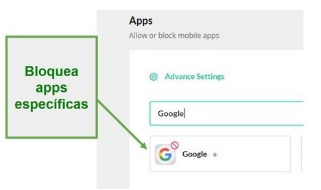Mobicip bloquea aplicaciones