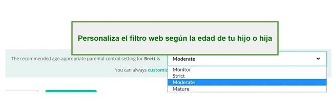 Opciones de filtro de Mobicip