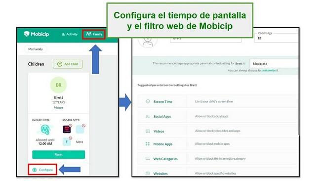 Mobicip configuró el filtro web