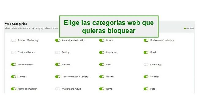 Categorías web de Mobicip