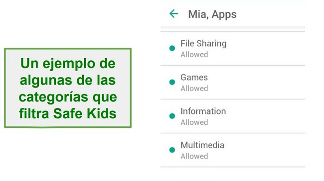 Categorías de Safe Kids Filter