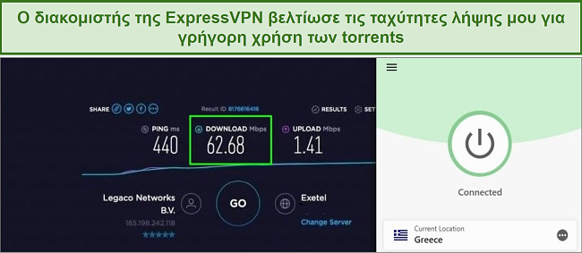 Screenshot of speed test results while connected to ExpressVPN.