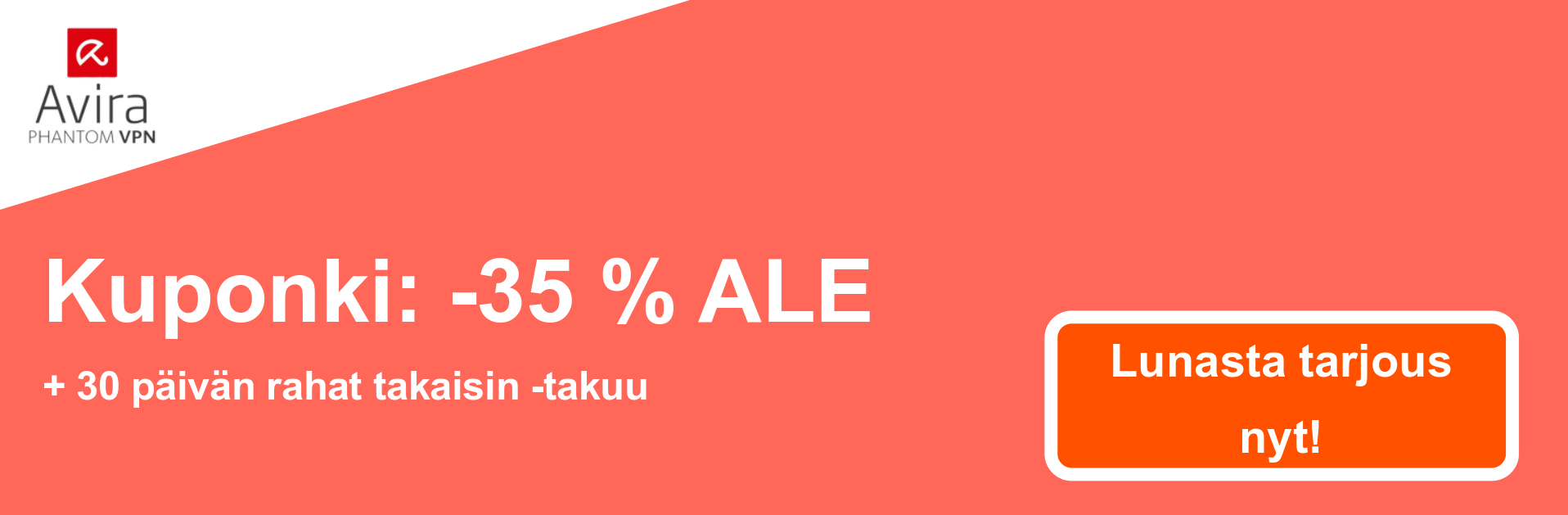 AviraVPN -kupongin banneri - 35% alennus