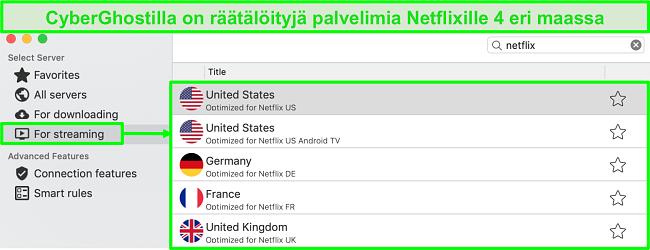 Näyttökuva CyberGhost-sovellusliittymästä, joka näyttää optimoidut palvelimet Netflixin suoratoistoa varten