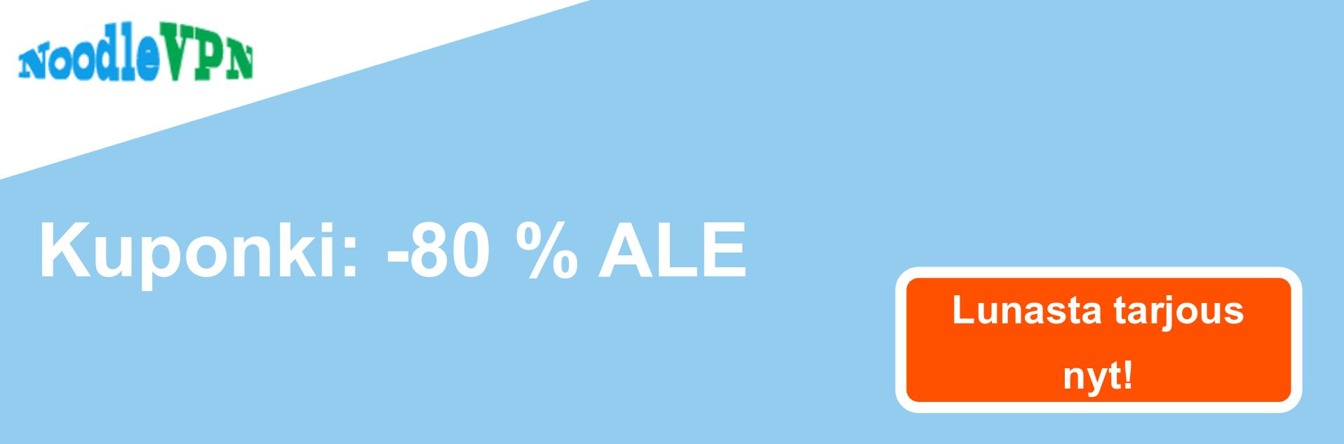 NoodleVPN -kupongin banneri - 80% alennus