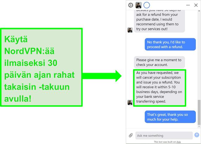 Näyttökuva käyttäjästä, joka pyytää NordVPN: ltä palautusta 30 päivän rahat takaisin -takuulla live-chatissa