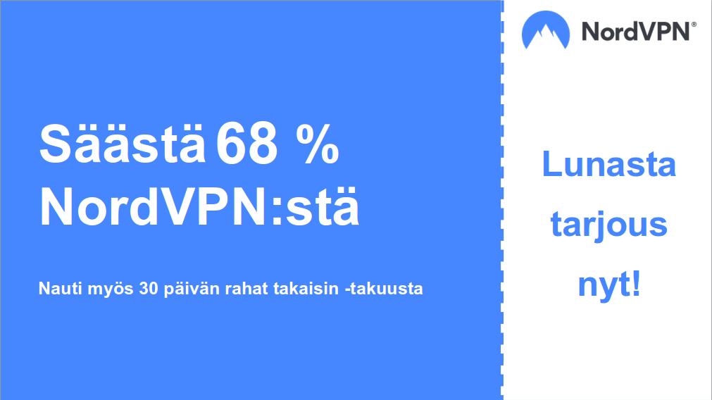 grafiikka Nordvpn-pääkupongin bannerista, josta näkyy 68%: n alennus