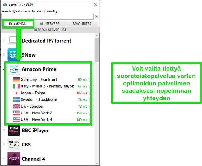 Kuvakaappaus suoratoistopalvelinvaihtoehdoista PrivateVPN: lle