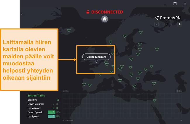 Näyttökuva ProtonVPN: n interaktiivisesta palvelinkartasta.