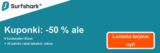Graafinen Surfsharkin kuponkibanneri, joka näyttää 50% alennuksen