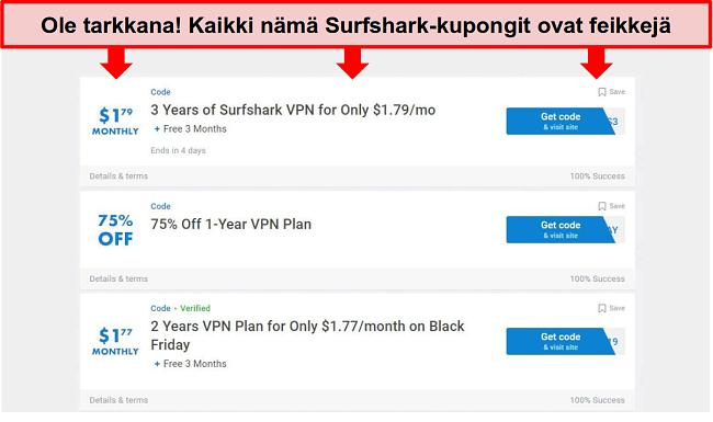 Näyttökuva väärennetyistä Surfshark-kuponkeista