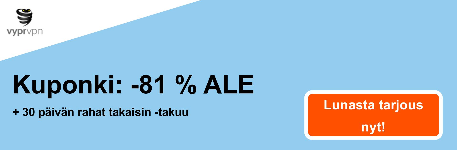 Vypr VPN -kupongin banneri - 81% alennus