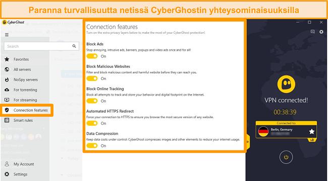 Näyttökuva CyberGhost-yhteysominaisuuksista verkkoturvallisuuden parantamiseksi