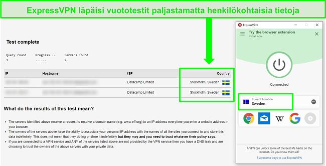 Näyttökuva ExpressVPN: stä, joka läpäisee DNS-vuototestin, kun se on yhteydessä ruotsalaisiin palvelimiin