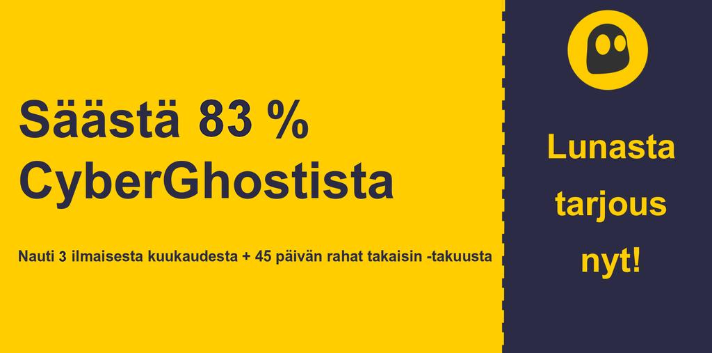 graafinen CyberGhostVPN-pääkupongin banneri, josta näet 79%: n alennuksen