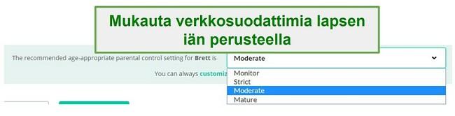 Mobicip-suodatinvaihtoehdot
