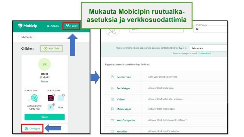 mobicip määrittää verkkosuodattimen
