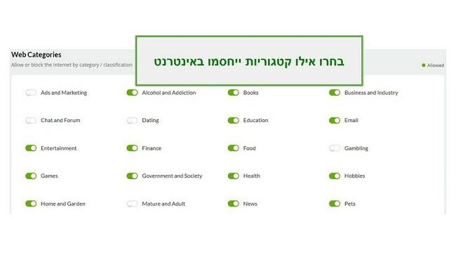 קטגוריות רשת Mobiicip
