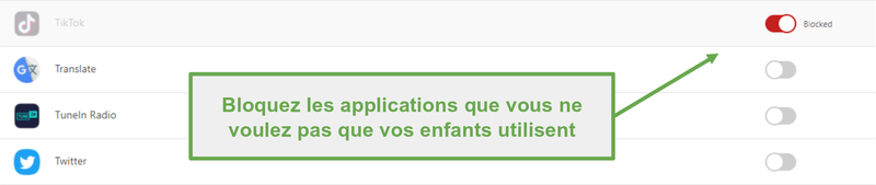 Bloquer les applications avec Norton Family
