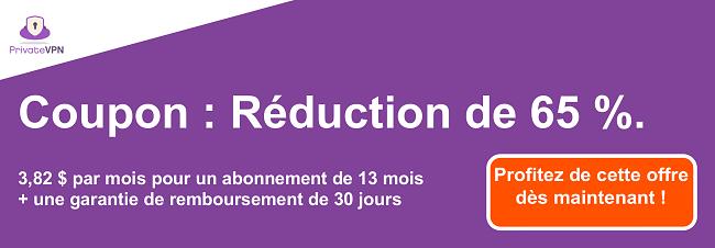 Graphique d'un coupon PrivateVPN fonctionnel avec 65% de réduction sur un abonnement de 13 mois et une garantie de remboursement de 30 jours