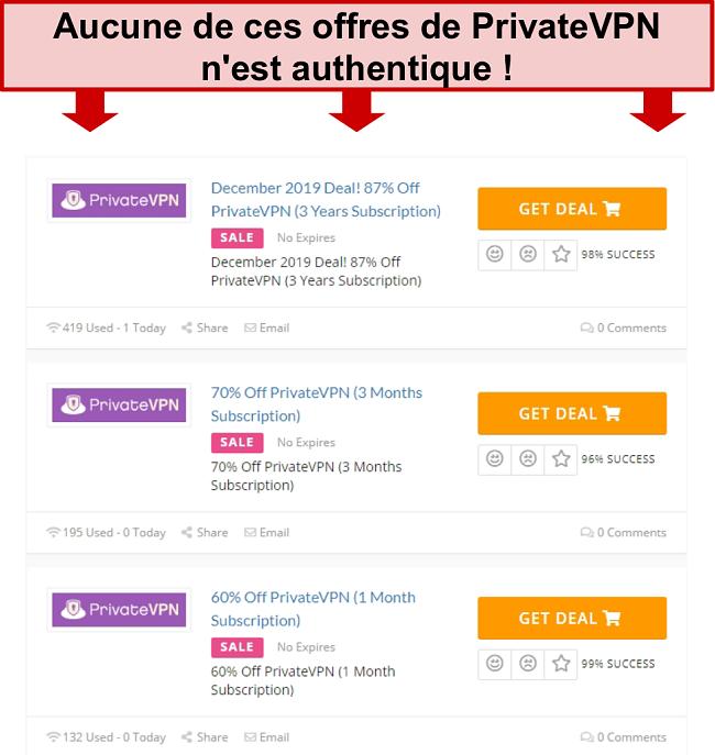 Capture d'écran des offres PrivateVPN montrant de faux prix