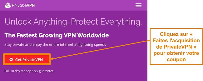 Capture d'écran de l'écran d'accueil de PrivateVPN avec un
