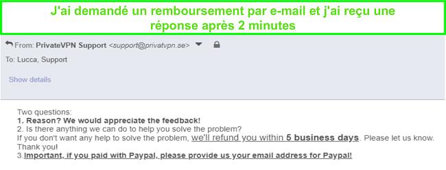 Capture d'écran de PrivateVPN répondant rapidement à ma demande de remboursement par e-mail
