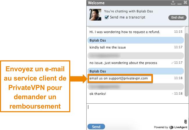 Capture d'écran d'un agent de chat en direct PrivateVPN fournissant des instructions pour envoyer une demande de remboursement par e-mail