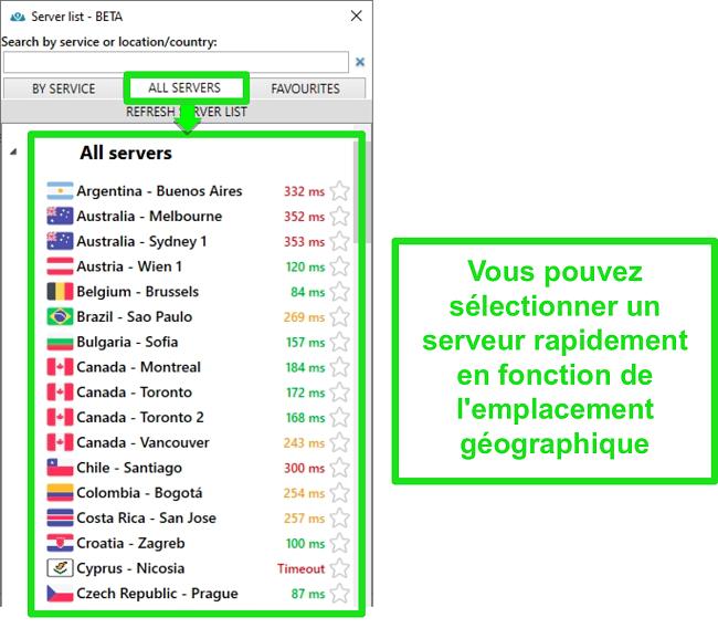Screenshot of PrivateVPN server locations under the