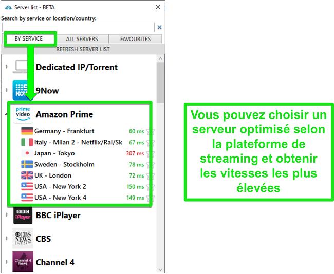 Capture d'écran des options de serveur de streaming pour PrivateVPN