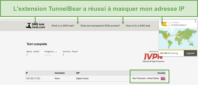 Capture d'écran des résultats du test de fuite DNS lors de la connexion à TunnelBear.