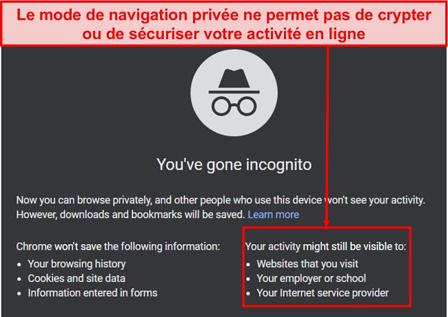 Capture d'écran des notifications du mode navigation privée.