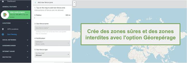 Capture d'écran des zones de sécurité et des zones interdites avec l'option Geofence