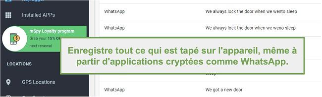 Capture d'écran des journaux d'applications cryptées comme WhatsApp