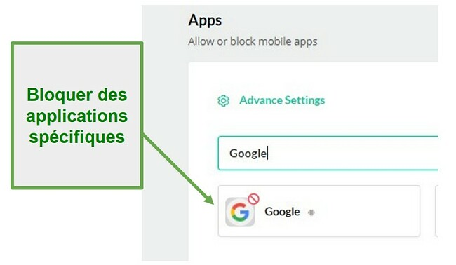 Mobicip bloque les applications