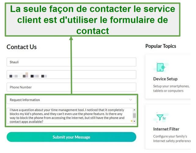 Service client Mobicip
