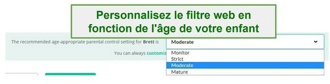 Options de filtrage Mobicip
