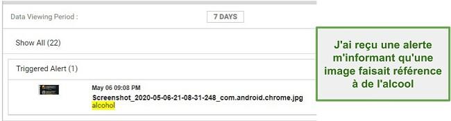 Capture d'écran des alertes WebWatcher à partir d'images