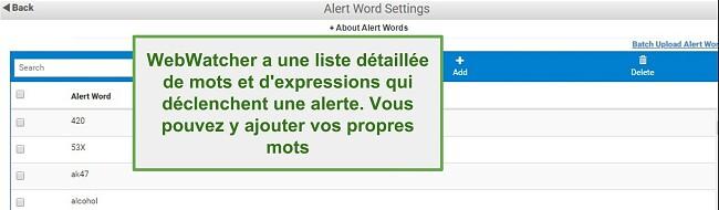 Capture d'écran des mots d'alerte Webwatcher