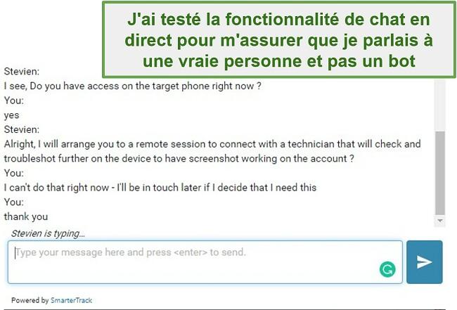 Capture d'écran du support client Webwatcher
