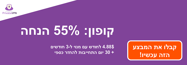 גרפיקה של קופון PrivateVPN עובד עם 55% הנחה על מנוי לשלושה חודשים והבטחת החזר כספי למשך 30 יום