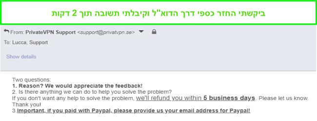 תמונת מסך של PrivateVPN מגיבה במהירות לבקשת ההחזר שלי באמצעות דוא