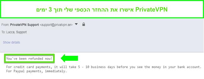 צילום מסך של תגובת PrivateVPN לאחר עיבוד החזר כספי