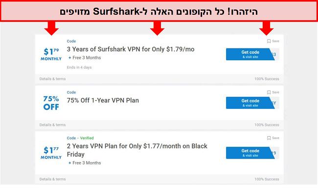 צילום מסך של קופונים מזויפים של Surfshark