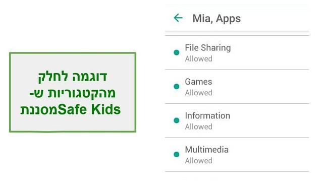 קטגוריות סינון ילדים בטוחים