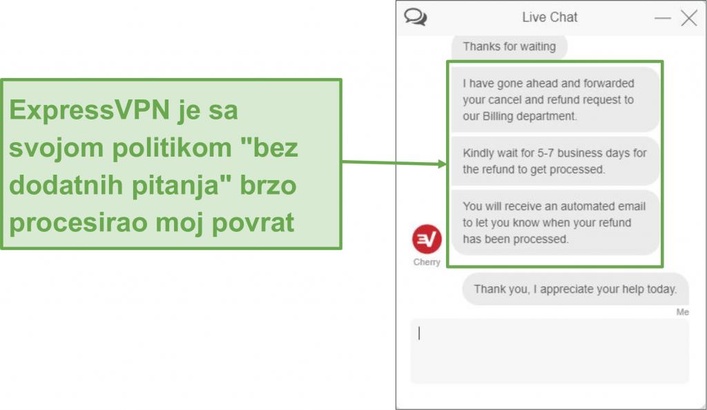 Snimak ekrana korisnika koji uspješno traži povrat od ExpressVPN-a putem live chat-a uz 30-dnevno jamstvo povrata novca