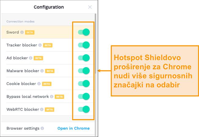 Snimka zaslona sigurnosnih značajki proširenja Chrome HotSpot Shield.