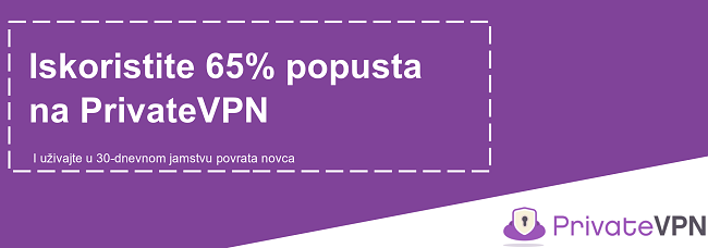 Grafika radnog kupona PrivateVPN koji nudi popust od 65% uz 30-dnevno jamstvo povrata novca