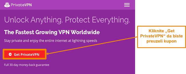 Snimka zaslona početnog zaslona PrivateVPN-a s